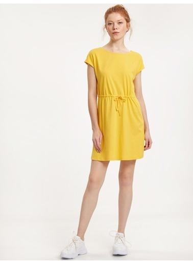 LC Waikiki Beli Büzgülü Pamuklu Elbise Sarı